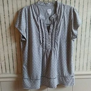 Aria Grey Short Sleeve Top Size L
